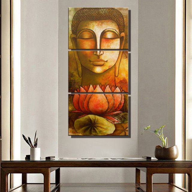 Buddha Wall Art Canvas Lotus Flowers Home Decoration Buddha Poster ...