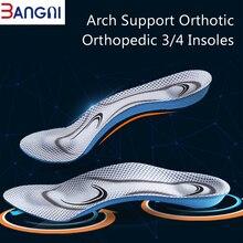 3ANGNI Orthotic Arch Support 가벼운 플랫 피트 메모리 폼 3/4 Insoles 남성용 여성용 소프트 메시지 삽입