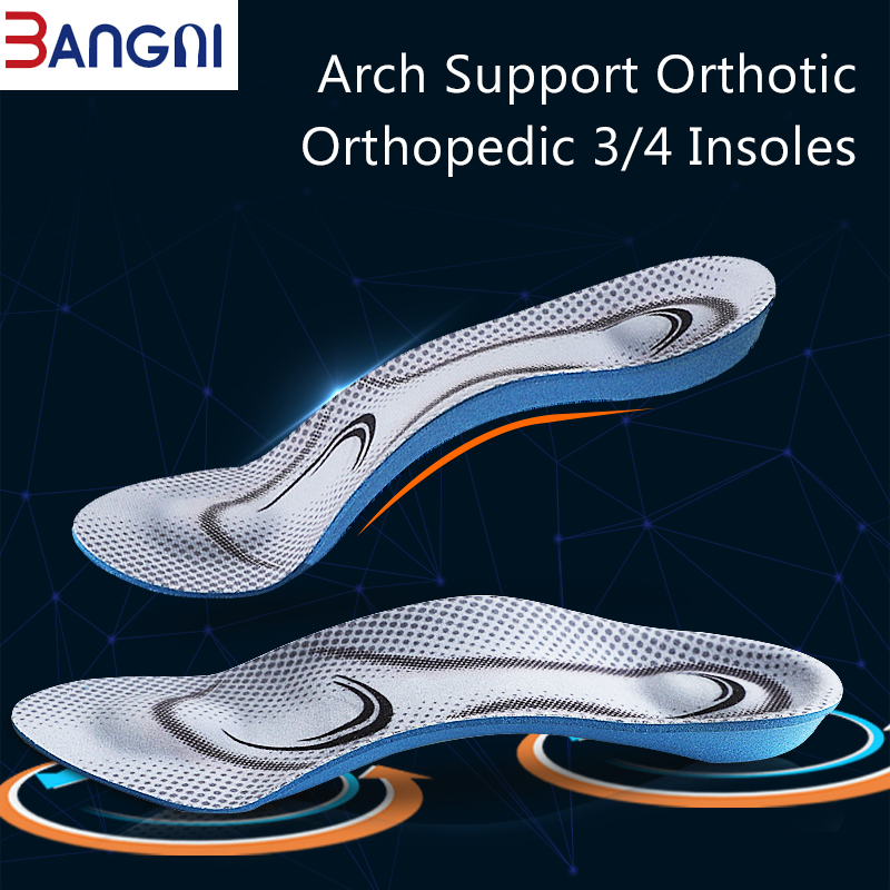 3ANGNI Orthotic Arch Support Mild Flat Feet Memory Foam 3/4 Insoles Insert Soft Message For Man Woman Shoes