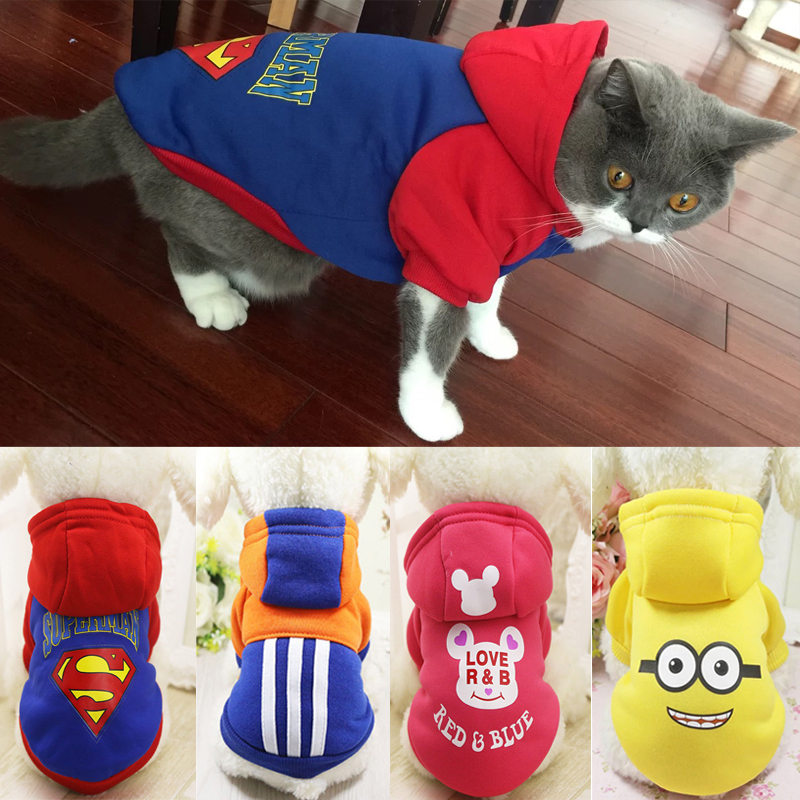 Cute Winter Warm Cat Clothes Cartoon Print Pet Hoodie For Small Cats Clothing Kitten Coat Outfit Xs-xxl