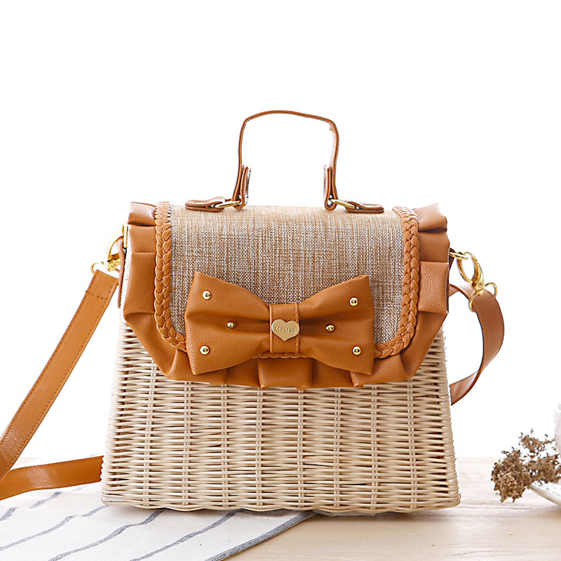New Hot Rattan Bag Anese Bow Straw Fashion Handbags Leather Casual Linen In Crossbody Bags From Luggage On Aliexpress