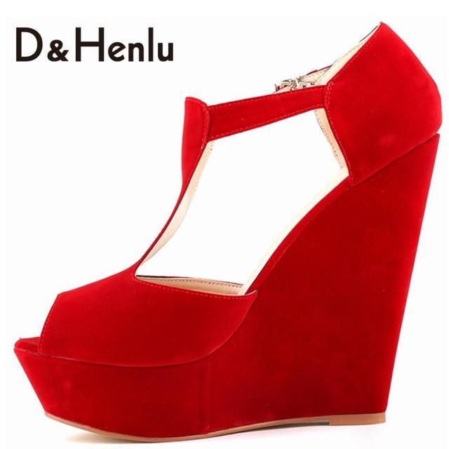 {D & H} Dulce T-strap Cuñas Bombas de Ultra Alta Talón Peep Toe Plataformas Sandalias Más Nuevas Señoras de Alta talones de la Marca Zapatos de Mujer de Tamaño Grande