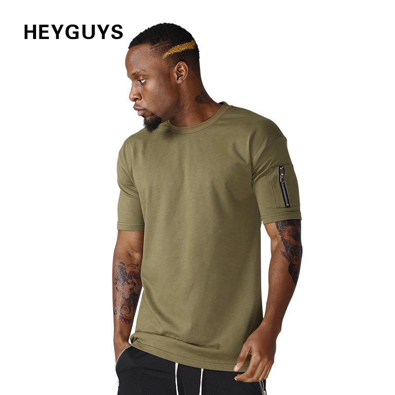 HEYGUYS cotton t shirts mens new summer street wear hip hop T-SHIRTS 2017 brand fashion zipper on sleeve t-shirts pure color