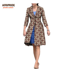 2018 autumn coat for women african clothing AFRIPRIDE three quarter sleeve knee-length single breasted casual A722423