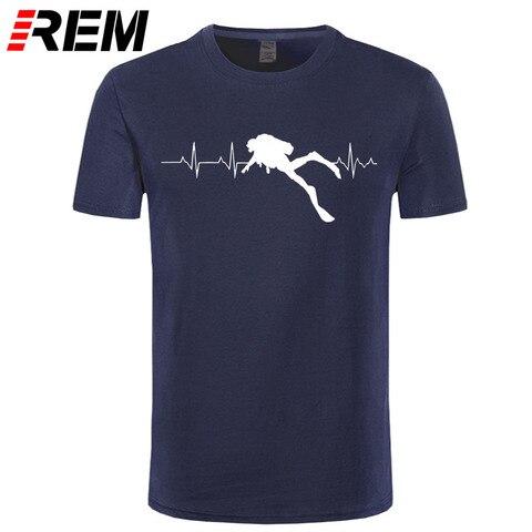 REM Scuba Dive Heart Beat Best Gift for Diver T-Shirts Summer Short Sleeves Soft Mens Tee Shirts Pure Cotton T Shirts Pakistan