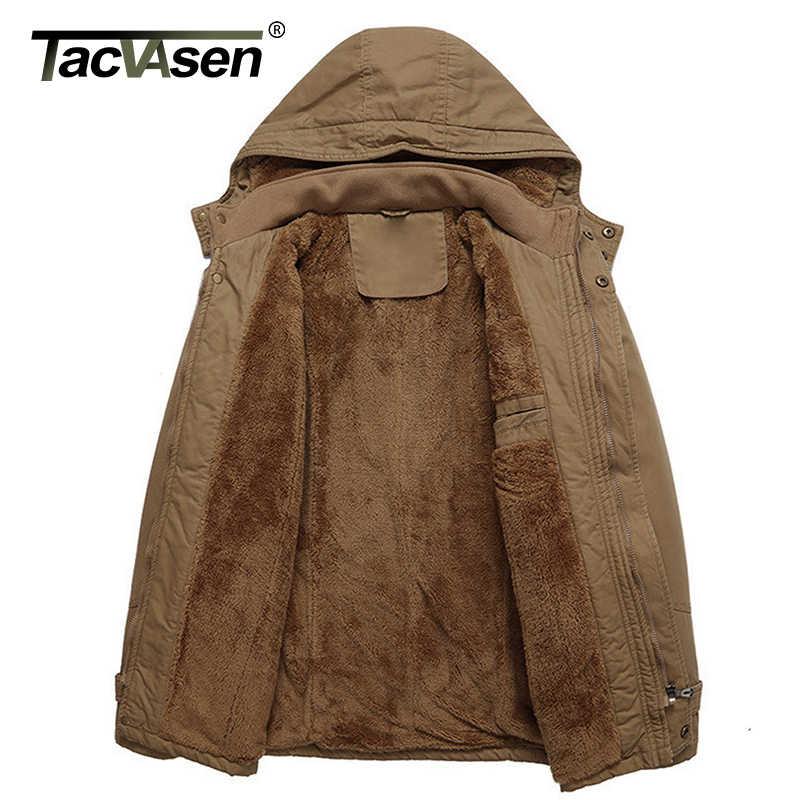 TACVASEN Mens Coats Winter Thicken Fleece Cotton Military Tactical Work Jackets with Hood