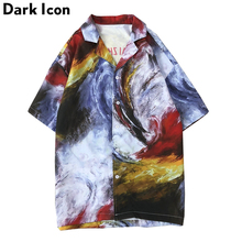 Dark Icon Oil Painting Hawaii Shirts Men 2019 Summer Turn-down Collar Vintage Mens Street Shirt 2 Colors