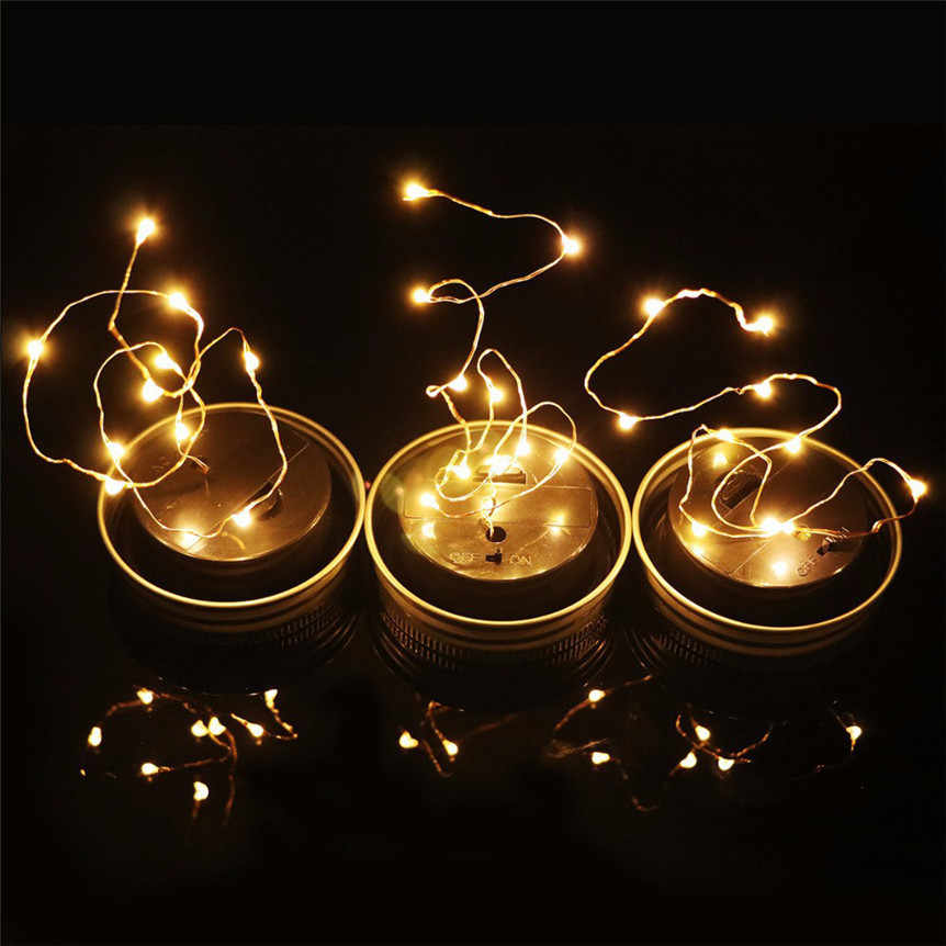 Solar Powered LED Fairy Light For For 7cm Common Mason Jar Lid Insert Color Changing Decorative Lighting for Wedding Party 0605#