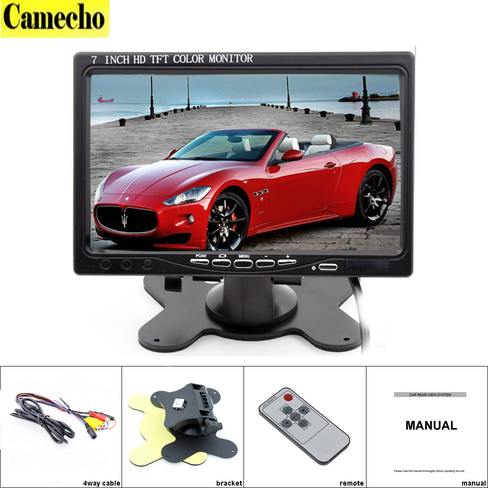 ФОТО 7 inch VGA Monitor TFT LCD Color Car Monitor 2 Video Input PC Audio Video Display VGA HDMI AV Input Security Monitor Car-styling