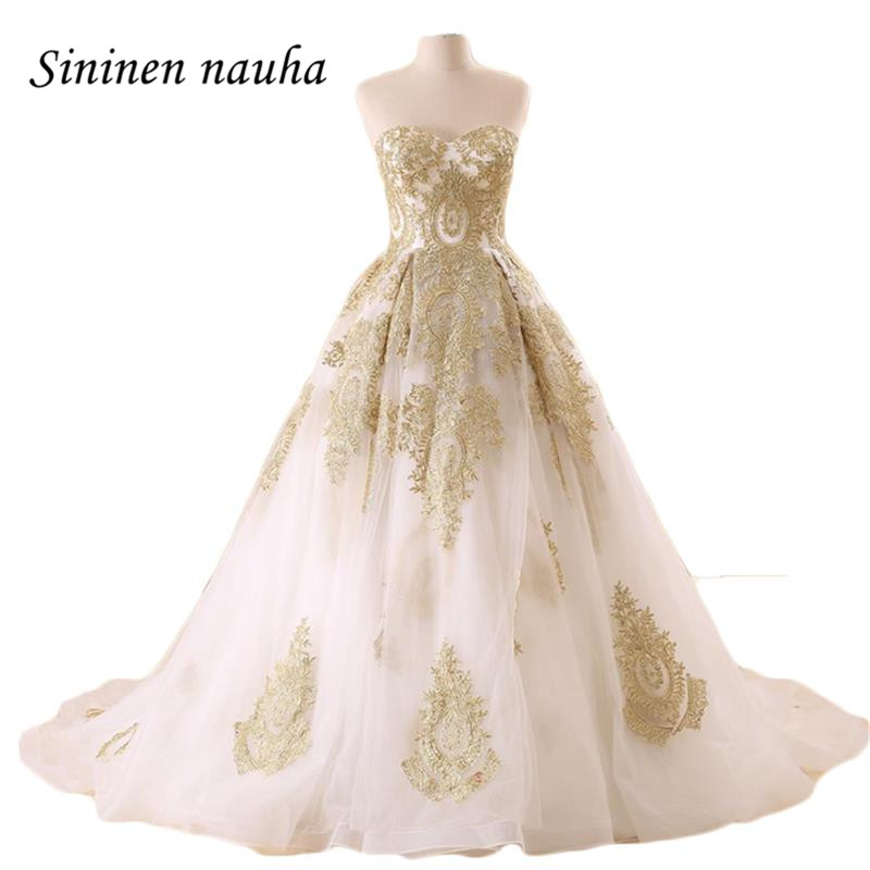 Long Evening Dresses Formal For Weddings Gold Appliques Ball Gown ...