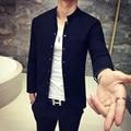 Men's casual jacket Retro Mandarin Collar Slim cotton jacket Fashion black and navy thin section autumn coat