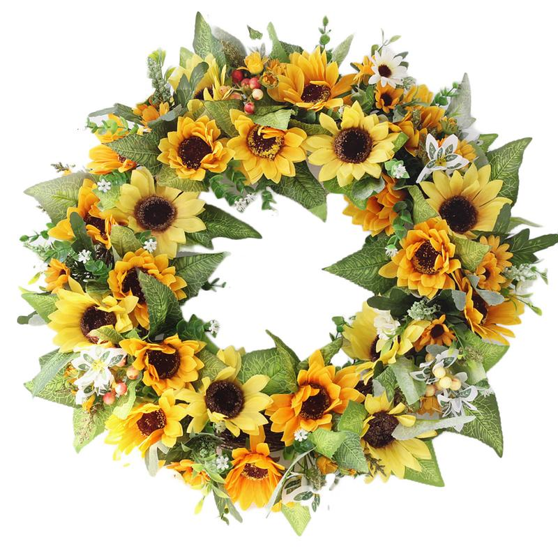 New Maple Leaf Wreath For Christmas Decoration Artificial Sunflower Crepe Garland Door Decoration Wall Decoration Wreath