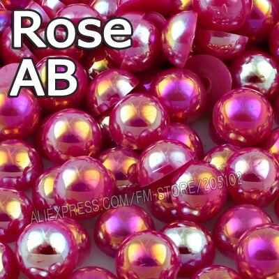 Красная роза AB Половина круглый шарик Mix Размеры 2 мм 3 мм 4 мм 5 мм 6 мм 8 мм 12 мм имитация ABS плоской задней жемчуг для DIY Nail ювелирных аксессуаров