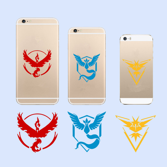 DIY Pokemon Go Team Wall Stickers Popular Game Pocket Monster Valor Mystic Instinct Decals Phone Cups