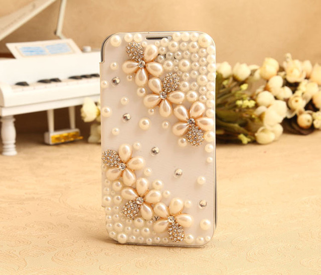 Pearl Rhinestone case for Samsung Galaxy Note II 7100 Luxury mobile phone case for Galaxy free shipping