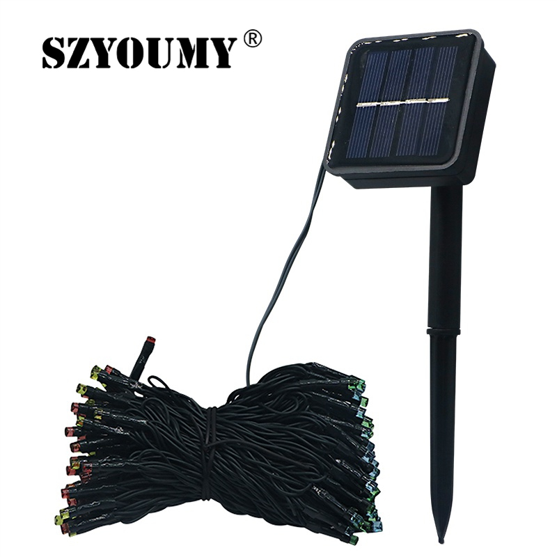 SZYOUMY LED Solar String Fairy Light 12M 100LEDS 22M 200LEDS Good Quality Waterproof Solar Power 7 Colors For Garden Decoration