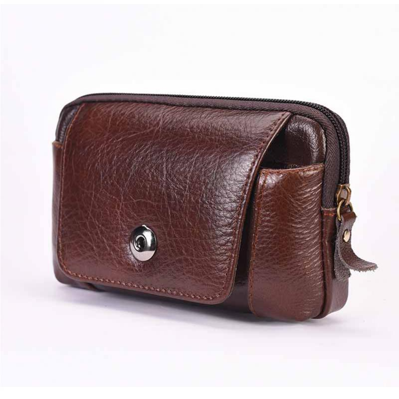 Men Business PU Leather Waist Packs Portable Solid Fanny Pack Casual Waterproof Travel Belt Bag Small Phone Pouch Bags