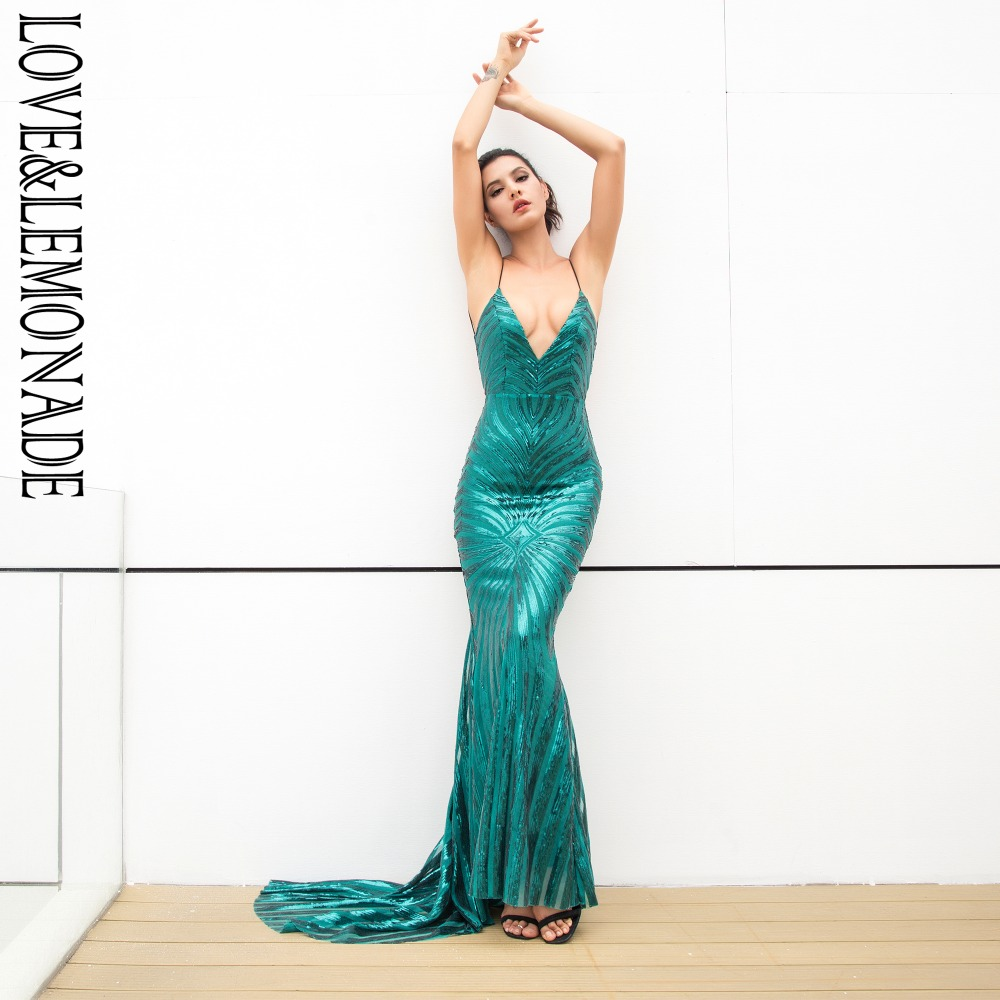 Love Lemonade Sexy Green Deep V Neck Open Back Geometry Sequins Long Dress  LM1296-in Dresses from Women s Clothing on Aliexpress.com  388cdf95a2b0