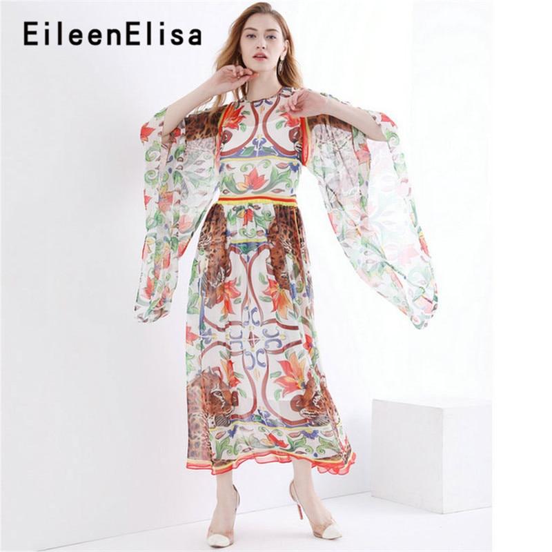 Pista Impreso Pics Vacaciones Largo As Vestidos Vintage Calidad Verano Vestido Alta Boho 2018 De Floral n5X88SqY
