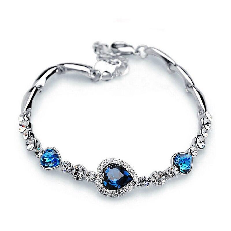 5 Colors Fashion Ocean Crystal Rhinestone Stainless Steel Clasp Heart Bracelet For Women Femme Girl Gift Bracelet & Bangle