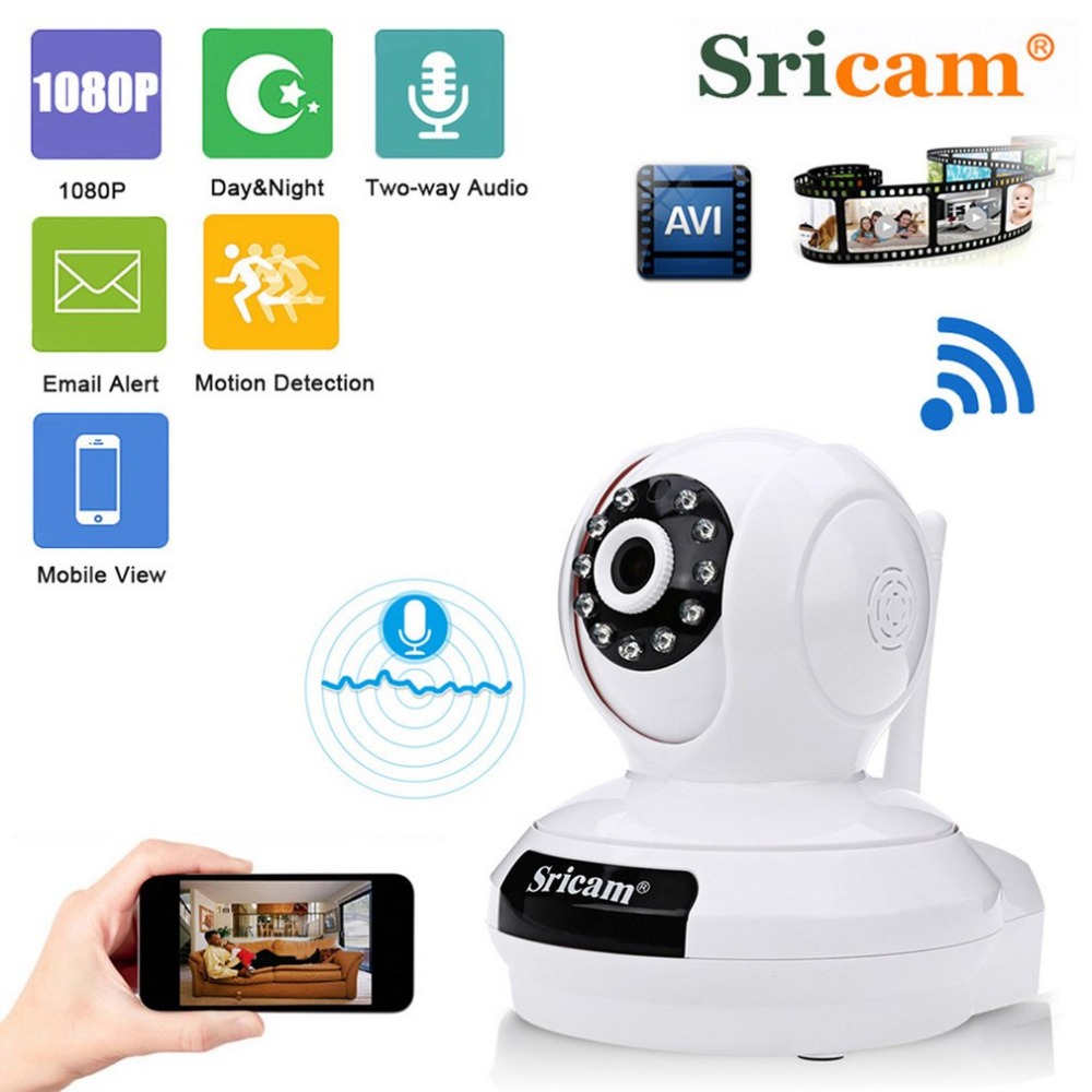 Sricam SP019 1080P HD Home Surveillance Camera Baby Monitor Night Vision WiFi Indoor IP Security Camera P2P PTZ Support TF Card