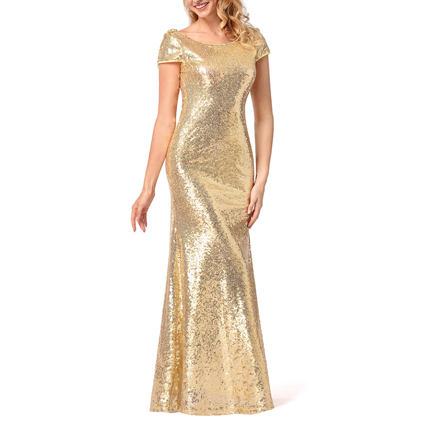 Women Elegant Bodycon Sequin Dress Women Party Dress Sequined Dresses Short Sleeve Dress For Ladies Night Club Clothing