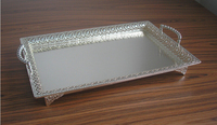 19.5x13.5 large rectangle silver plated alloy metal serving tray fruit dish decorative storage tray floral cut out handle 320L