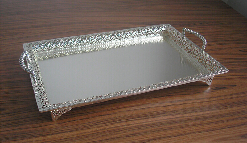 195x135 large rectangle silver plated alloy metal serving tray fruit dish decorative storage tray floral cut out handle 320l - Decorative Serving Trays