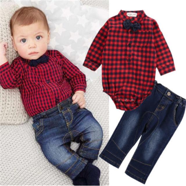 Otoño Bebé Fijado Ropa de Recién Nacido de Los Bebés de Manga Larga A Cuadros Arco Rojo Botón Body Tops + Jeans Pantalones 2 UNIDS Bebé Conjunto