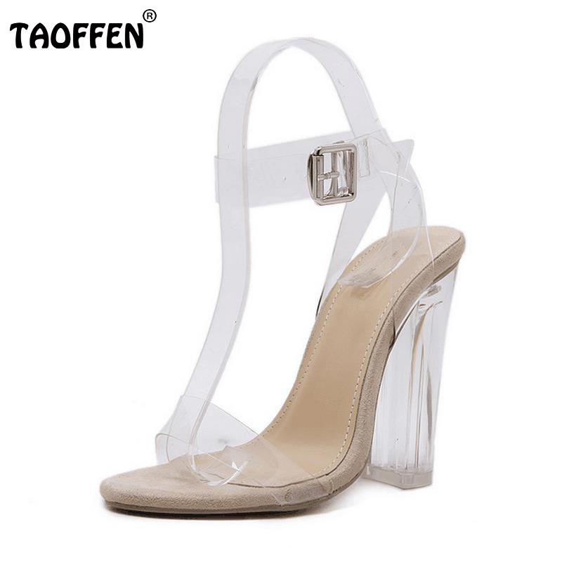 TAOFFEN Women High Heels Sandals Real Leather Peep Toe Shoes Women Buckle Clear Thick Heel Sandals Daily Footwear Size 34-39 taoffen women high heels sandals real leather peep toe shoes women buckle clear thick heel sandals daily footwear size 34 39