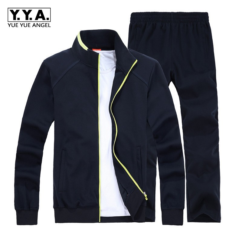 Autumn Men Casual Set Long Sleeve Stand Collar Coat Sweatsuit Comfort Sweatpants Male Sets Suit Large