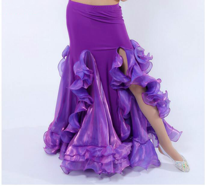 Sexy Women Bellydance Costume Long Ruffle Carnaval Skirt Side Slit Purple Red White Blue Pink Solid Color Dancing Performance Cl