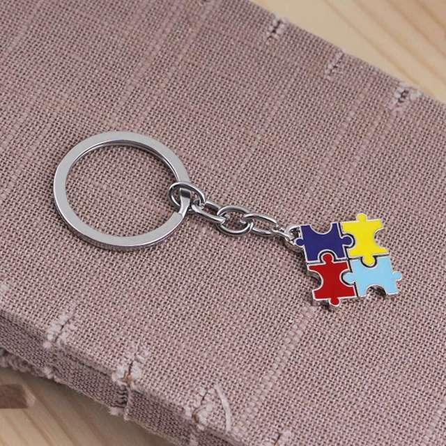 1PC kryształ autyzm nadzieja biżuteria wielu kolorowa emalia wiedzy na temat autyzmu kawałek układanki łańcuszek z serduszkiem naszyjnik
