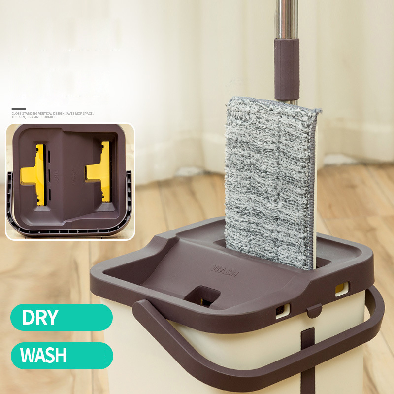 Seau de vadrouille paresseux sol dur nettoyeur magique rotation automatique système de lavage-séchage auto-essorage Double face compression livraison directe