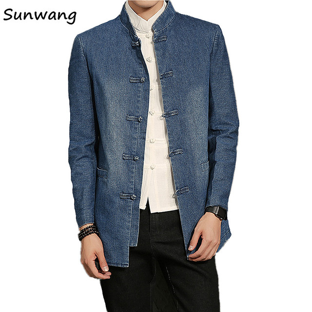 8ed6499d27f4 Winter Chinese style Jeans Tang Suit Jackets Kung Fu Men Blazer Stylish Suits  Casual Slim Fit Denim Jacket Suit Men 2 Styles