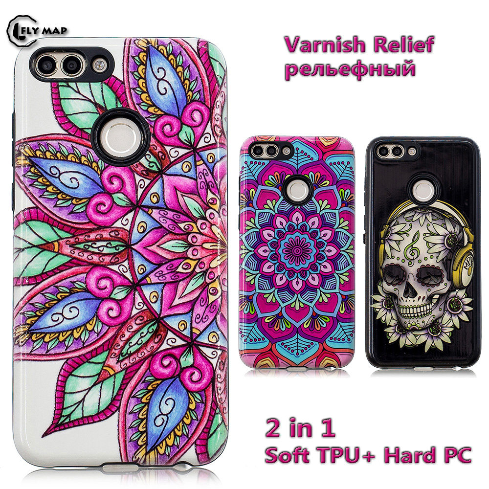 Relief Cover For Huawei P Smart PSmart Soft TPU Hard PC Case Shell Coque For Enjoy 7S FIG-LX1 FIG-LA1 FIG-LX2 FIG-L22 FIG-TL10