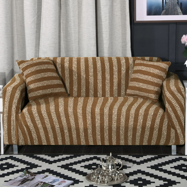 Elastic Sofa Cover Knitted Blue Stripes Slipcovers Universal Flexible Stretch Couch Loveseat Furniture