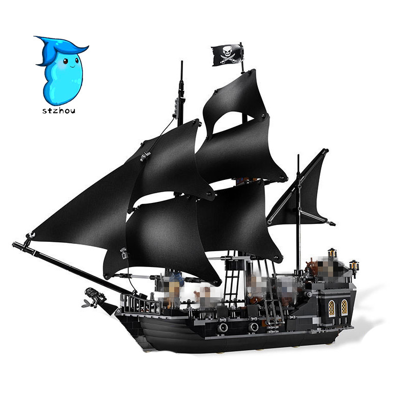 StZhou Lepin The Black Pearl Ship 804Pcs Bricks Set Pirates of the Caribbean Building Blocks Toys For Children Compatible kazi 1184pcs pirates of the caribbean black general black pearl ship model building blocks toys compatible with lepin