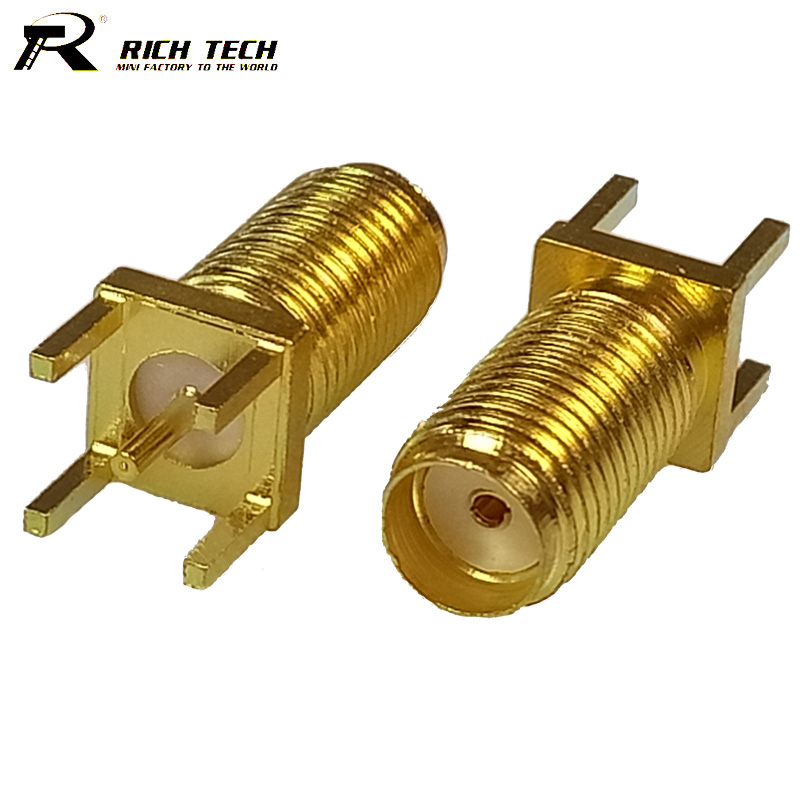 100pcs/lot Gold Plated 13mm Tooth SMA Female Jack Panel Mount LONG PCB Solder Straight SMA PCB Mount Connector Adapter 2pcs pcb panel mount midi female din5 din 5 pin jack d501