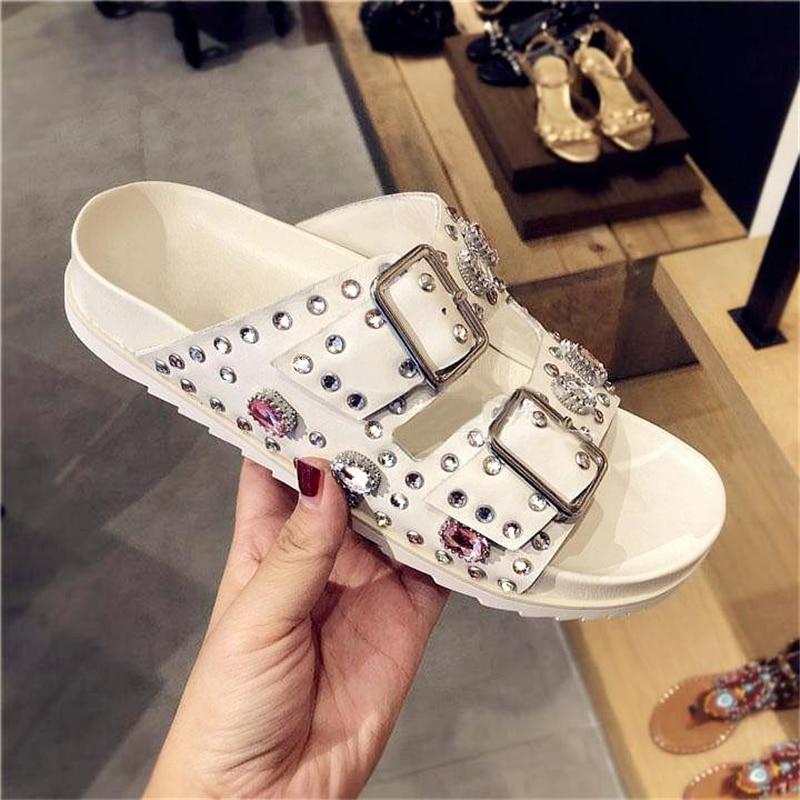 2019 Leather Women Slides Belt Buckle Design Platform Women Shoes Glitter Crystal Embellished Women Slipper Rivets Shoes Chic