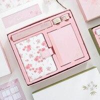 Sakura Series Hardcover Monthly Planner Gift Set , PU Leather Premium Dairy Notebook Set