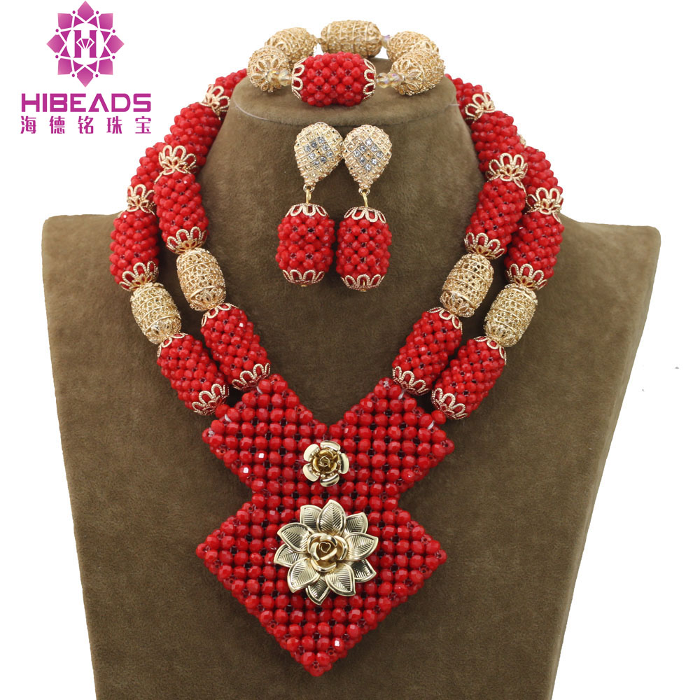 Red with Gold Accessories Necklace Beaded African Wedding Jewelry Set African Beads Bridal Wedding Jewelry Necklace Set ABH476