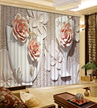 relief curtains 3D Curtain Printing Blockout Polyester Photo Drapes Fabric For Room Bedroom Window flower cutains