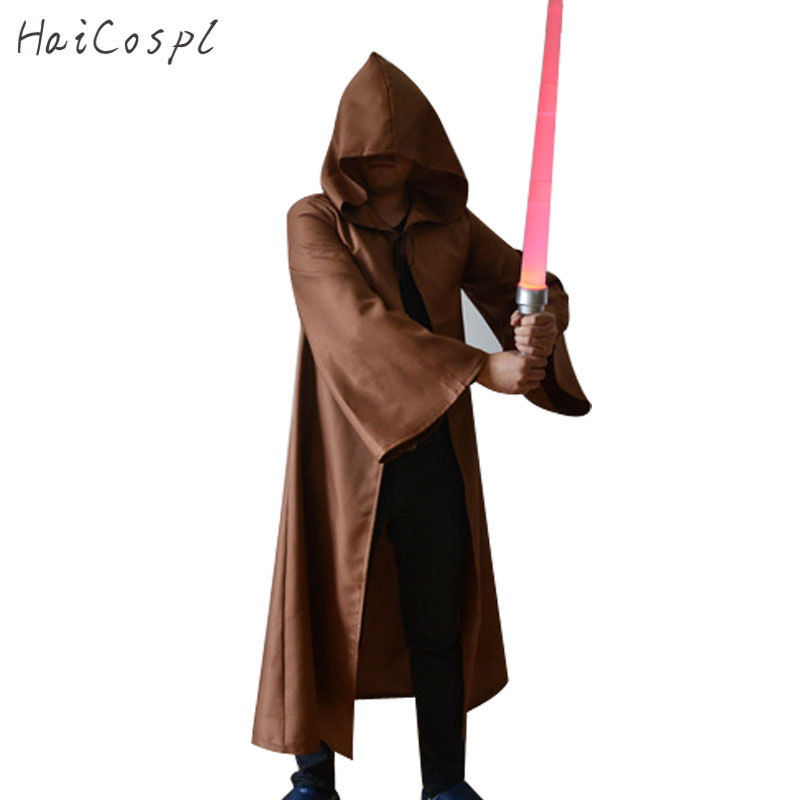 Star Wars Cosplay Costume Adults Jedi Knight Darth Vade Robe Cloak Cape Hoodie Overcoat Lightsaber Party Wear Halloween Disguise