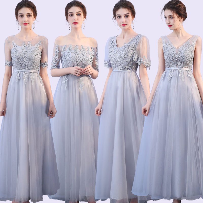 Grey Dress  Wedding Party Dress  Bridesmaid Dresses Short Sleeves  Special Occasion Dresses  Embroidery
