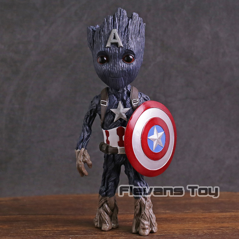 Marvel Tree Man Cosplay Captain America PVC Figure Collectible Model Toy