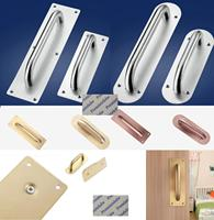 2Pcs/Lot Stainless Steel Face Mount Door Pull Push Plate  Fire proof door Brush Gold Rose Gold