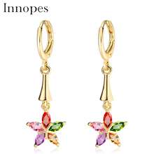 Innopes vintage flowers earings fashion jewelry ethnic gold earrings color  earrings
