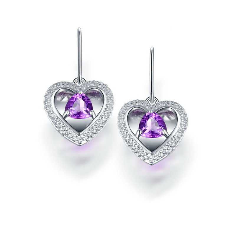 все цены на ANI 925 Sterling Silver Women Drop Earrings Natural Amethyst Fashion Design Female Wedding Bijoux Fine Gemstone Jewelry Custom онлайн