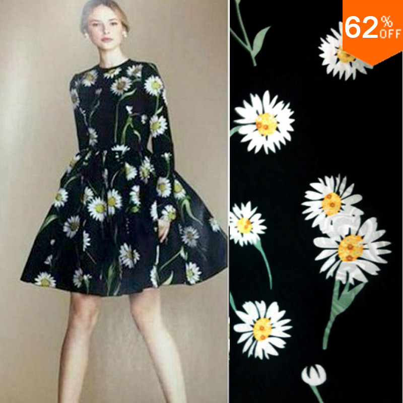 sunny Flowers silky fabric coin flower print fabric flowers print server for sewing cotton mix polyester fashion week material